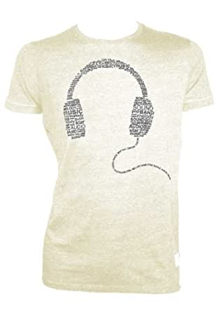 Indicode Men's Headphones T-Shirt Color Ecru Size XL MusicEcruMixXL