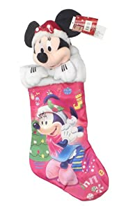 "Minnie 18"" Satin Stocking Fully Printed with Plush Head Hanger"