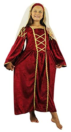 GIRLS TUDOR PRINCESS COSTUME FANCY DRESS PAST TIMES QUEEN CHILDRENS MEDIEVAL PRINCESS RENAISSANCE SCHOOL CURRICULUM VELOUR DRESS + HEADPIECE WITH VEIL (MAROON, 3-5 YEARS)
