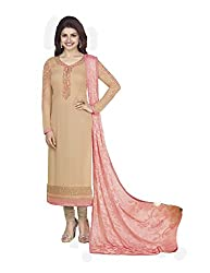 Beige Coloured Georgette Designer Embroidered Salwar Suit