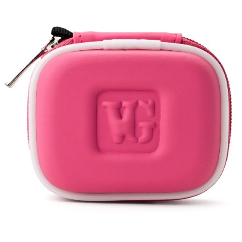 Vangoddy Compact Carrying Case For Plantronics M55 / M25 Bluetooth Headset (Magenta)