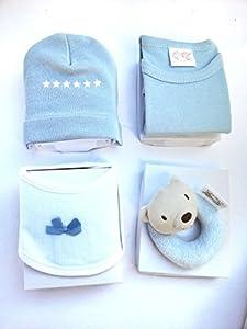 Juego bebes 4Pcs 100% algodon, Ropa bebes, babero bebes, Gorro bebes, juguete bebes (Azul)