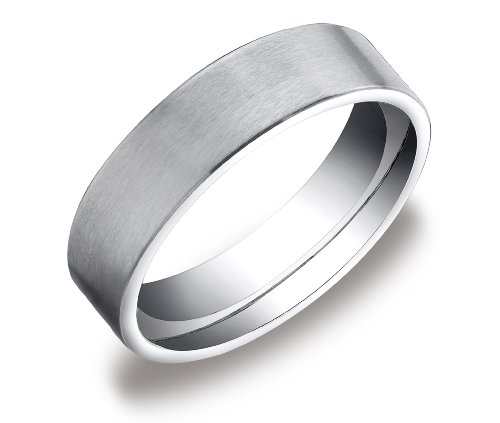 Men's 10k White Gold 6mm Comfort Fit Wedding Band with  Soft Satin Finish Ring, Size 9