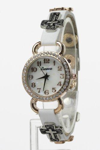 Trendy Fashion Jewelry Metal Fashion Watch W/Leather Strap By Fashion Destination | (White/Mt)