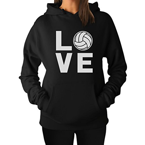 TeeStars - Love Volleyball - Perfect Gift for Volleyball Fans Women Hoodie Medium Black