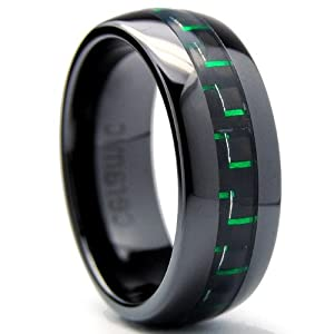 8mm dome s black ceramic ring wedding band with black