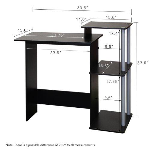 Furinno 11192bk Gy Efficient Computer Desk Black Grey
