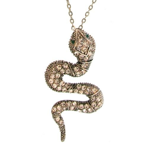 Rhinestone Snake Necklace In Crystal with Burnished Silver Finish