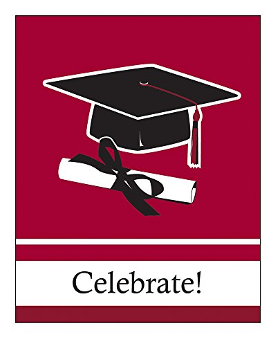 Creative Converting 25 Count School Color Graduation Invitation Cards, Burgundy