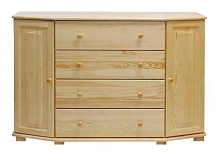Dresser solid natural pine wood 051 - Dimensions 100 x 140 x 47 cm (H x B x T)