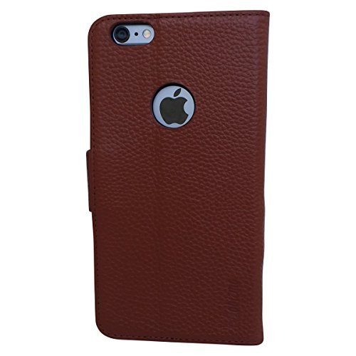 Genuine Leather Wallet Case for Apple iPhone 6 Plus / 6S Plus - Credit Card, ID and Cash Slots - Bonus Accessories: Screen Protector, Stylus, and Cleaning Cloth - Slim & Luxurious Cover (Locked Iphone 6 T Mobile compare prices)