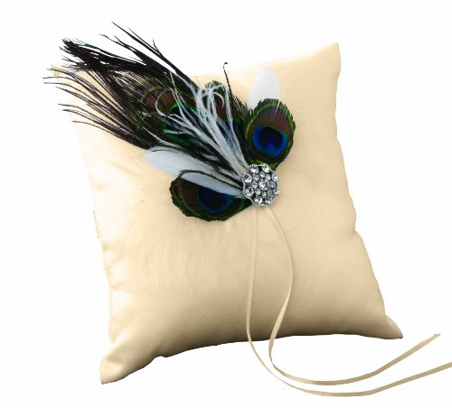 Ivy Lane Wedding Designs Peacock Collection Ring Pillow, Ivory