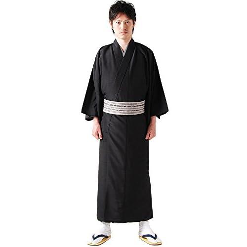 (キョウエツ) KYOETSU メンズ洗える袷着物 無地 紬生地 袷 仕立て上がり (M, 黒)