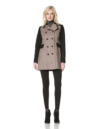 Kensie Women's Double-Breasted Colorblock Coat  [Black/Taupe]