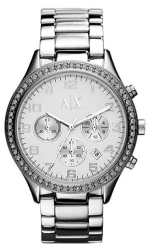 Armani Exchange Crystal Accented Chronograph Stainless Steel Womens Watch AX5109