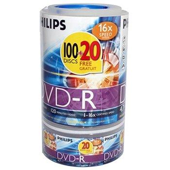 PHILIPS DVD-R 4.7Go 16x speed dans Cakebox de 100x + 20 Gratis!!