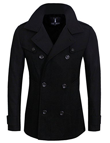 Tom's Ware Mens Stylish Fashion Classic Wool Double Breasted Pea Coat TWCC06-BLACK-US S
