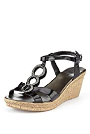 Leather Open Toe Diamant Crossover Bling Wedge Sandals