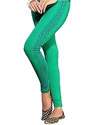 1 stop fashion Green Cotton Lycra Leggings