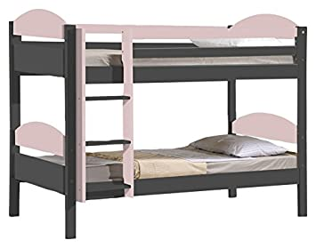 Design Vicenza Maximus Bunk Bed Long 3ft Graphite With Pink Details