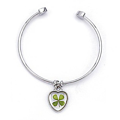 stainless-steel-real-four-leaf-clover-good-luck-symbol-dangling-clear-heart-cuff-bracelet