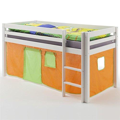 Hochbett mit Rutsche Spielbett Rutsche MAX, Kiefer massiv weiß lackiert, Vorhang orange grün, 90 x 200 cm (B x L) günstig bestellen