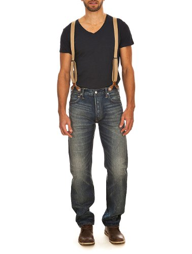 Jeans BKLE-BK Distressed Dai. JLR Deck Wash W/ Suspender Evisu W28 L34 Men's