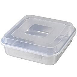 Nordic Ware Natural Aluminum Commercial Square Cake Pan with Lid, Exterior 9.88 x 9.88 Inches
