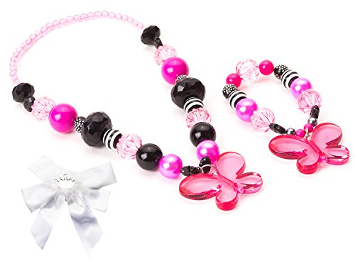 Little Adventure Pink & Black Butterfly Kids Chunky Necklace & Bracelet with Bow