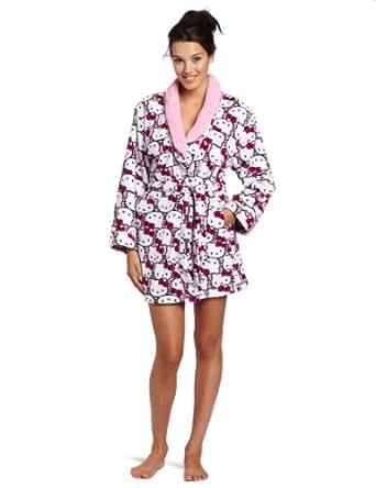 Hello Kitty Juniors  Print Shawl Collar Robe, White/Pink, Small
