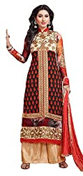 Atisundar Women Faux Georgette Dress Material (6661_30_48006 _Black And Red _30)