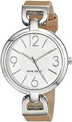 Nine West Women's NW/1651SVTN Silver-Tone Case Tan Strap Watch