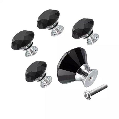 DECOOL (TM) Schwarz 5 PCS 30mm Neu Kristall Glas Türknopf Knopf Schrank griff Möbelknauf Möbelknopf Geeignet für die Tür der Schublade , Schrank , Bücherschrank , Kleiderschrank, etc. bestellen