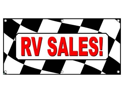Rv Sales Rvs Checkered Flag Campers Motorhomes - Business Sign Banner front-573161
