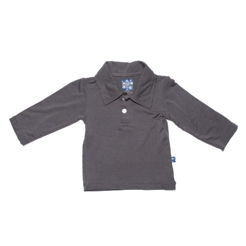 Kickee Pants Baby-Boys Infant Solid Long Sleeve Polo, Stone, 18-24 Months front-614100