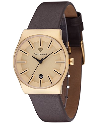 Yves Camani Women's Louanne Quartz Watch with Gold Dial Analogue Display and Brown Leather Bracelet YC1079-B