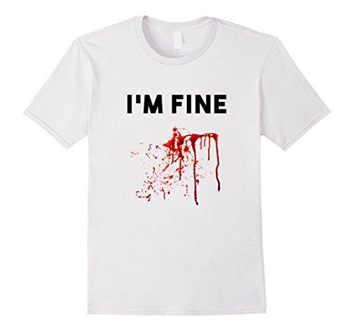 Men's Funny I'm Fine Bloody Splatter Gunshot Wounds Vampire Tshirt 2XL White