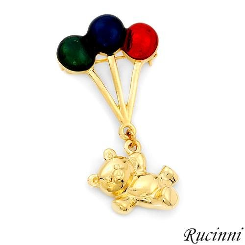 Rucinni Dazzling Brand New Brooch with Genuine Swarovski Crystals Made in Yellow Base Metal and Multicolor Enamel Length 46mm