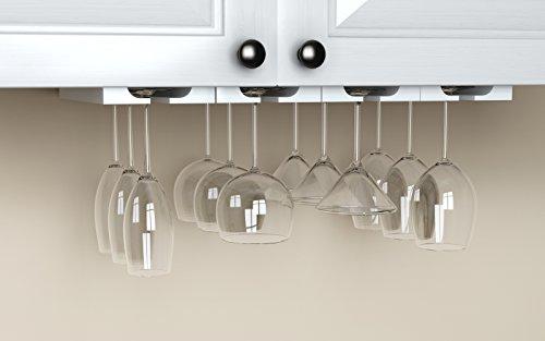 new hanging under cabinet stemware wine glass holder rack adjustable white wood ebay. Black Bedroom Furniture Sets. Home Design Ideas
