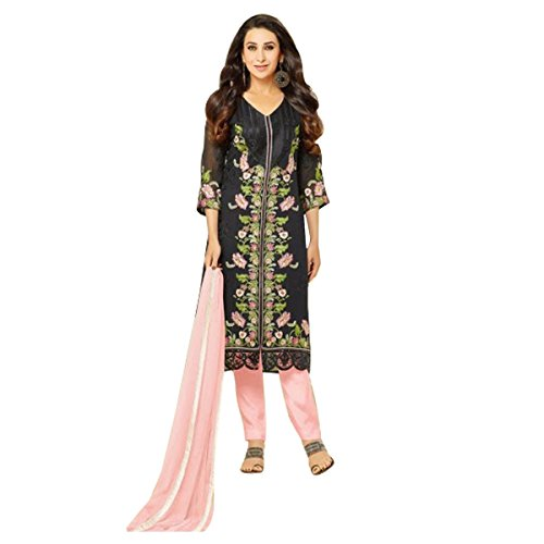 Black And Pink Designer Party Wear Salwar Kameez In Faux Georgette