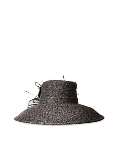 Badgley Mischka Women's Large Romantic Profile Hat, Black/Silver