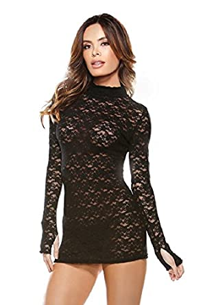 Stretch Lace Long Sleeve Mini-Dress and G-String(BLACK,ONE SIZE)