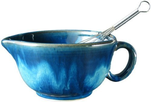 Prado Stoneware Collection - Perfect Grip 30 Ounce Mixing Bowl With Metal Whisk - Royal Blue
