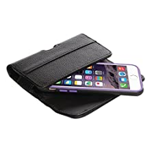 "buy Quickflipcase For Iphone 6 / Iphone 6S (4.7"" Screen), Black, Premium Leather Horizontal Case With Belt Clip And Magnetic Enclosure, Also Fits Other Phones Of Similar Size"