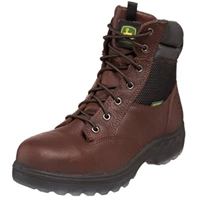 "John Deere Men's JD7601 7"" ST WP Zipper Lace-Up Hiker Boot,Brown,7 M US"
