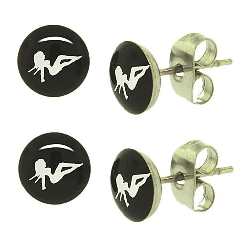 Stainless Steel Trucker Lady Fashion Stud Earrings (2 pairs,4 earrings in total)