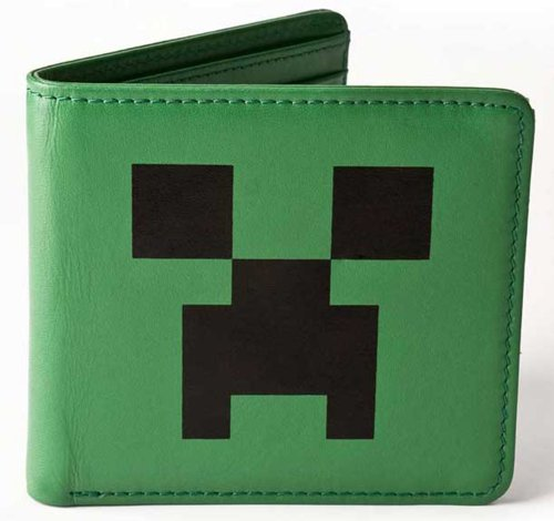 Minecraft Creeper Face Leather Wallet, Green, One Size