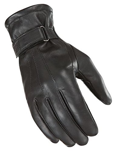 Power Trip Jet Black Lined Womens Leather Gloves Black XL