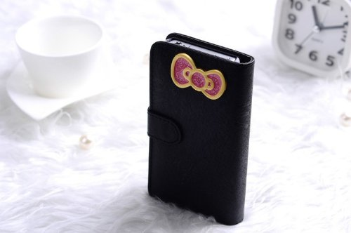Slim 3D Hello Kitty Bowknot Iphone Cover Case For Iphone 5 Protective Deluxe Book Style Folio Wallet Leather Case For Iphone 5 - Fit For Verizon, At&T, Sprint, Rogers, Fido Etc - Black