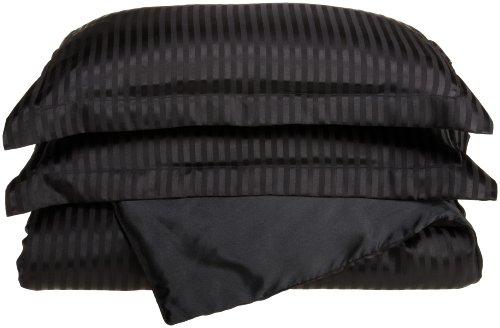 Divatex Home Fashions Royal Opulence Woven Satin Stripe Full/Queen Duvet Mini Set, Black